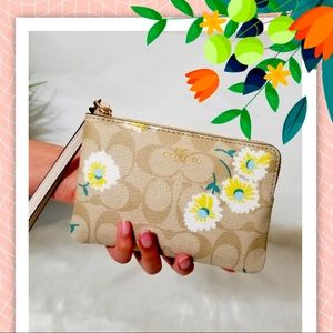 Coach Zip Wristlet In Signature Canvas With Daisy